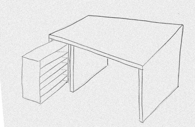 bureau - [Fabrication] Un bureau contemporain et simple…  Vue-3d11