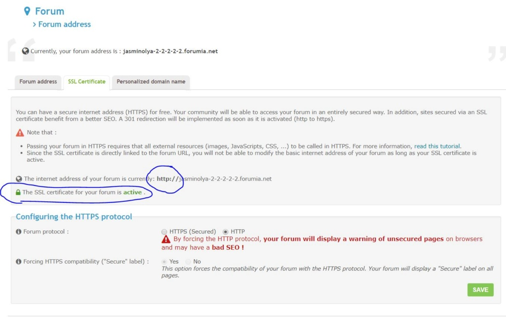 How can I change the address of the forum if SSL is active and do not allow to make changes Forum-14