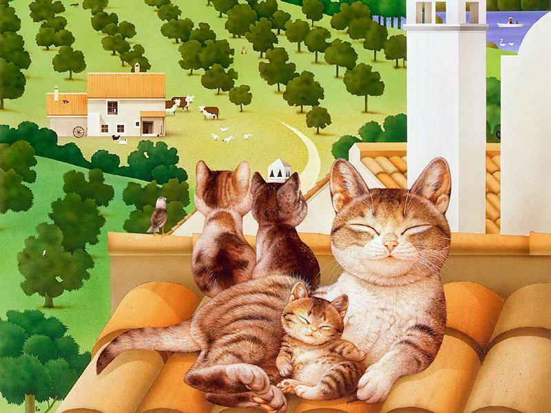 Makoto Muramatsu - японский художник забавных котов Makoto12