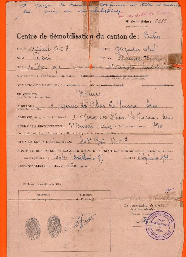Démobilisation 1940 Demobi15