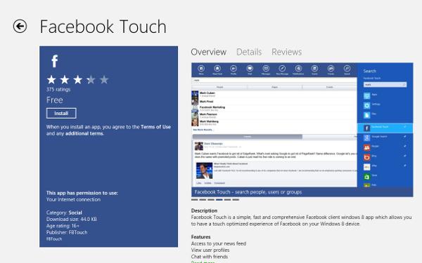 Các ứng dụng được viết lại cho Windows 8 đã có trên Windows Store Facebo10