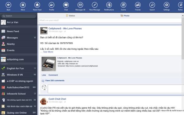 Các ứng dụng được viết lại cho Windows 8 đã có trên Windows Store Facebo12