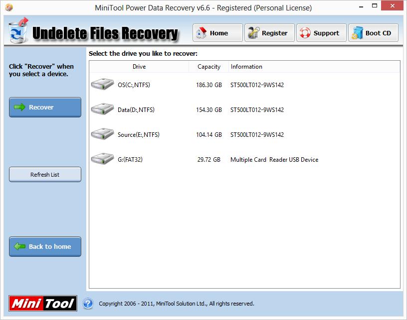 MiniTool Power Data Recovery - phần mềm hữu ích phục hồi tập tin Pdrp6610