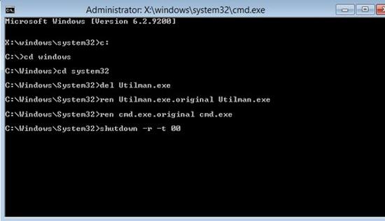 Thay đổi mật khẩu đã quên trên Windows 8 Window32