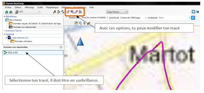 Modifier une trace Explic10