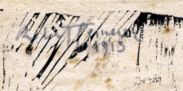 Une gravure sur bois ? avec un poème et une signature! Pierro10