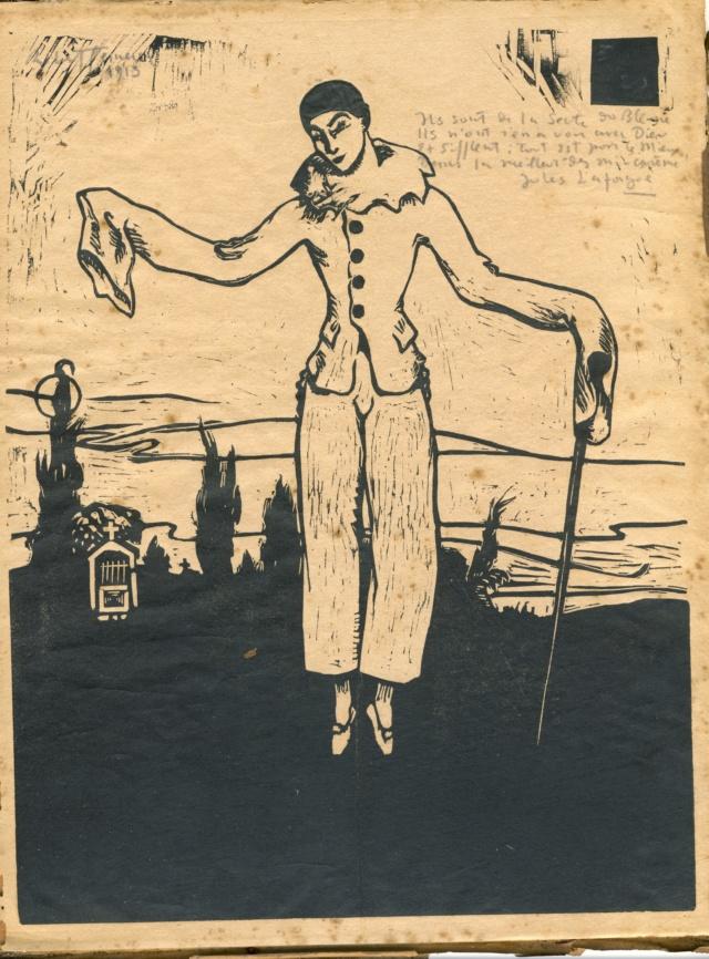 Une gravure sur bois ? avec un poème et une signature! Pierro12