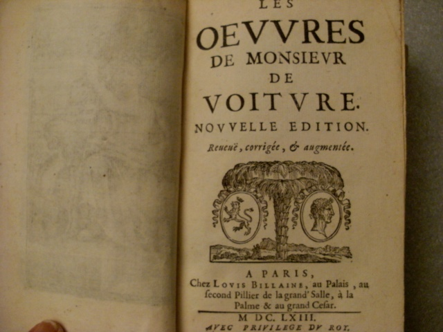 LIVRES: Monsieur DE VOITURE XVIIe  ET A.V ARNAULT XIXe Voitur11