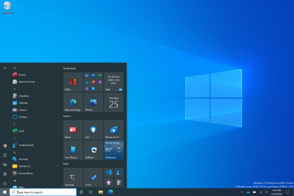 Το μενού «Έναρξη» των Windows 10 αναβαθμίστηκε από τη Microsoft στην τελευταία έκδοση Insider Preview Build 20161 25290810
