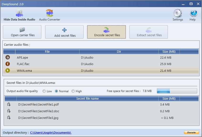 DeepSound  2.0.0.32372 - Κρύψτε τα δεδομένα σας σε μουσικά αρχεία Deepso10
