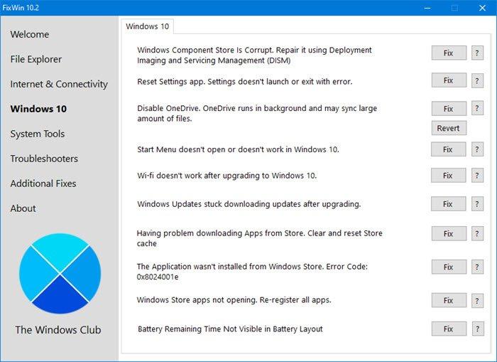 FixWin 10.0 (Windows 10) FixWin 2.2 (Windows 8) & FixWin 1.2 (Windows 7 & Vista) Fixwin10