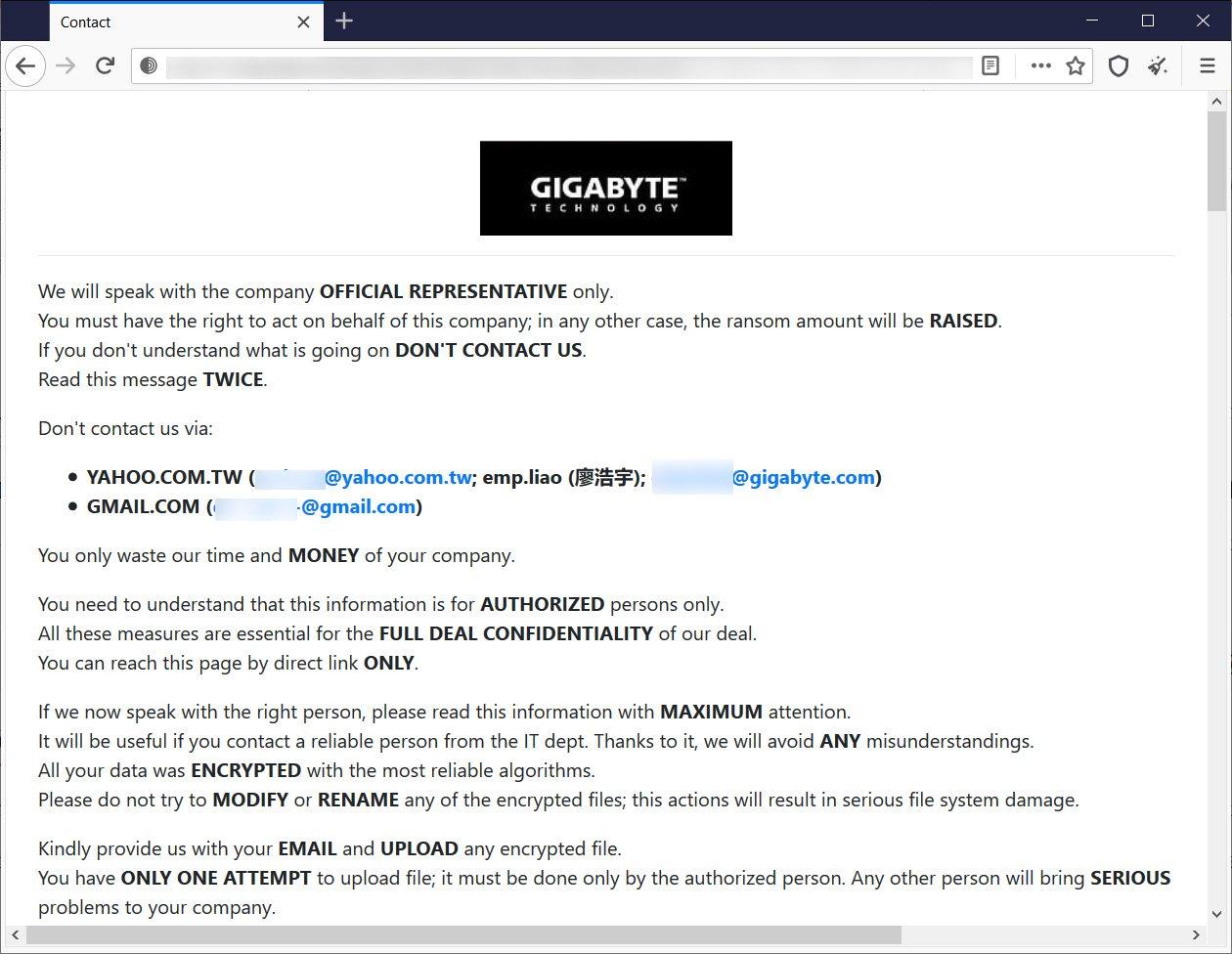 Έγινε παραβίαση δεδομένων στην Gigabyte μετά από επίθεση ransomware Gigaby10