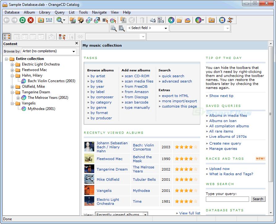 OrangeCD Player 6.5.8 Build 27126 - Βρείτε τίτλους, covers και άλλες πληροφορίες απο τα μουσικά cd σας Ocdsui10