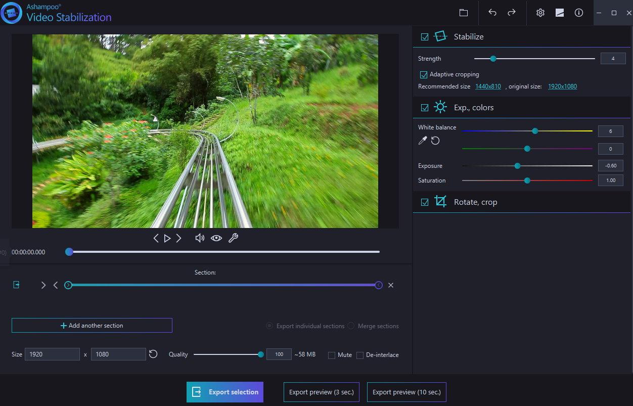 Ashampoo Video Stabilization (Review) Scr-as25