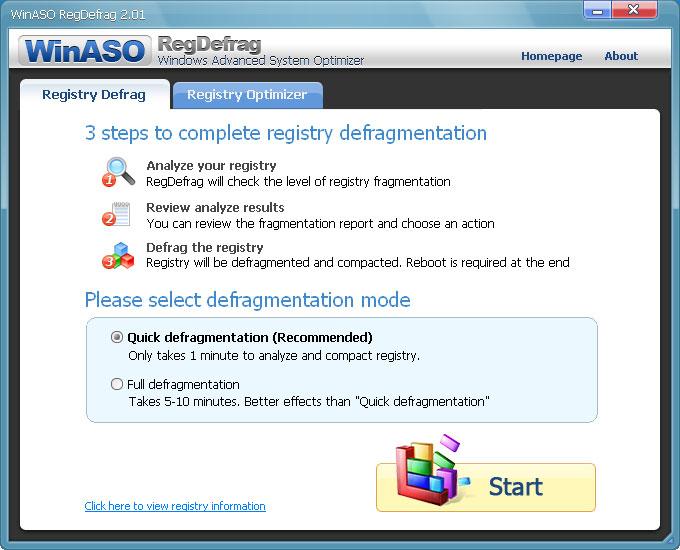 WinASO RegDefrag 2.9.0 - Ανασυγκρότηση μητρώου και εργαλείο καθαρισμού Sreens10