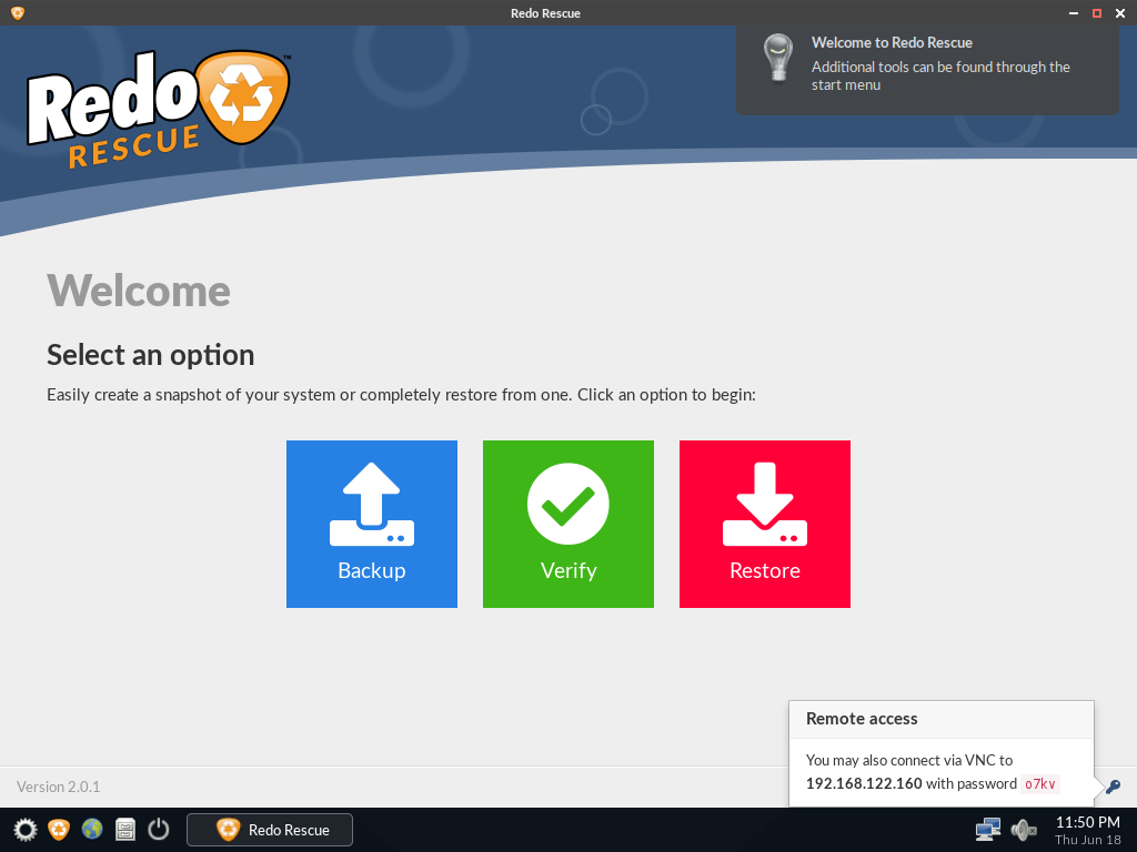 Redo Backup and Recovery 2.0.6 Welcom10