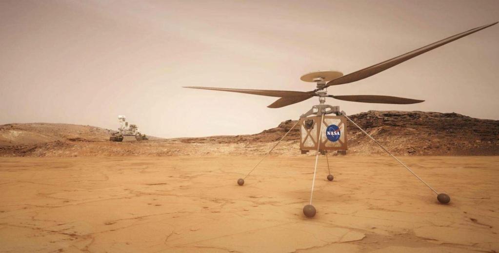 Le Rover Persévérance et son hélicoptère. Hzolic12