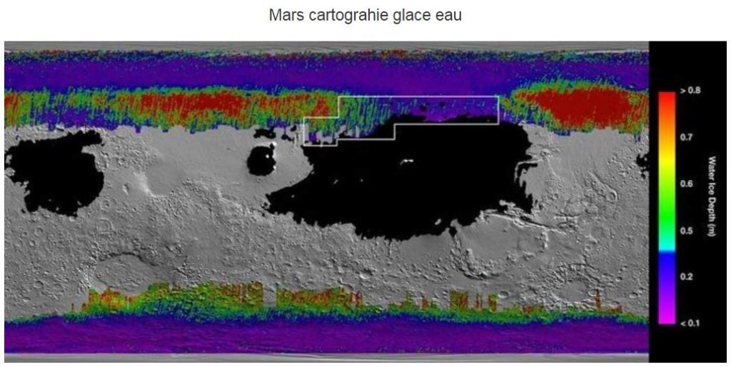 Sur Mars, de la glace d'eau à quelques centimètres de la surface Mars2010