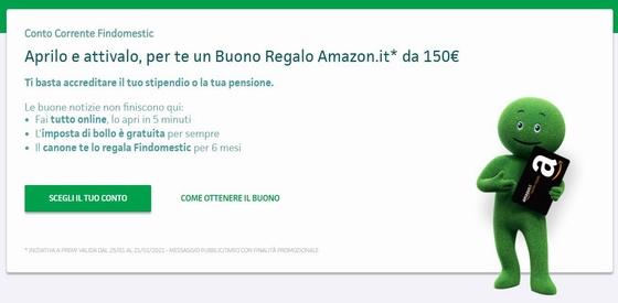 FINDOMESTIC Conto Corrente regala BUONO AMAZON € 150 [promozione valida fino al 21/02/2021] Cattur40