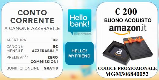 APRI CONTO HELLO! BANK: IN REGALO PER TE UN BUONO AMAZON DI 200 EURO! Hello_19