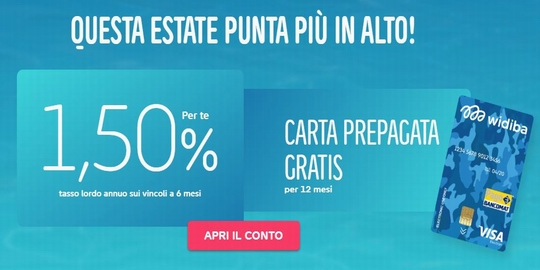 WIDIBA regala 12 mesi canone Carta Prepagata + tasso 1,50% a 6 mesi [promozione scaduta il 19/09/2018] Ssssss10