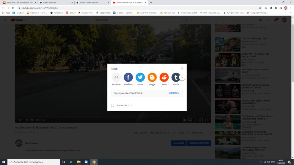 Ein Video in ein Thema/in einen Beitrag einbetten Screen20