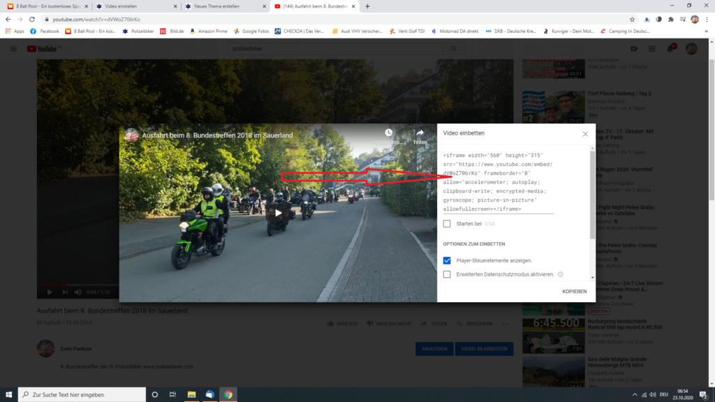 Ein Video in ein Thema/in einen Beitrag einbetten Screen23