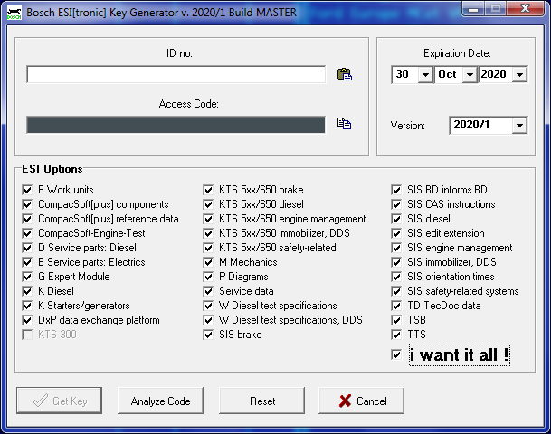 BOSCH ESI[tronic] KEYGEN for ESI 1.0 covering all the versions 2002/1 -2020/1 2c555310