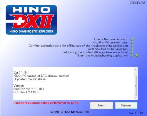 HINO DX2 v1.1.19.1 2019 Multilanguage + Troubleshooting + Wiring + Help + DB Hinov110