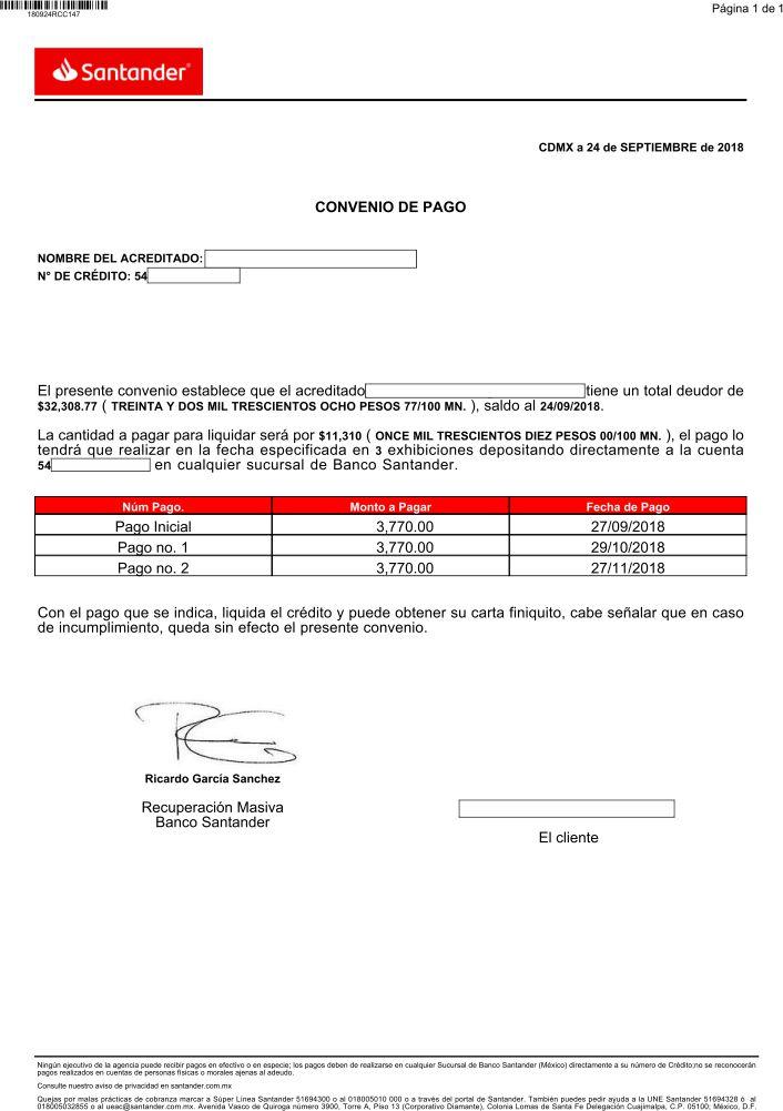 Convenio de Pago Santander Conven11