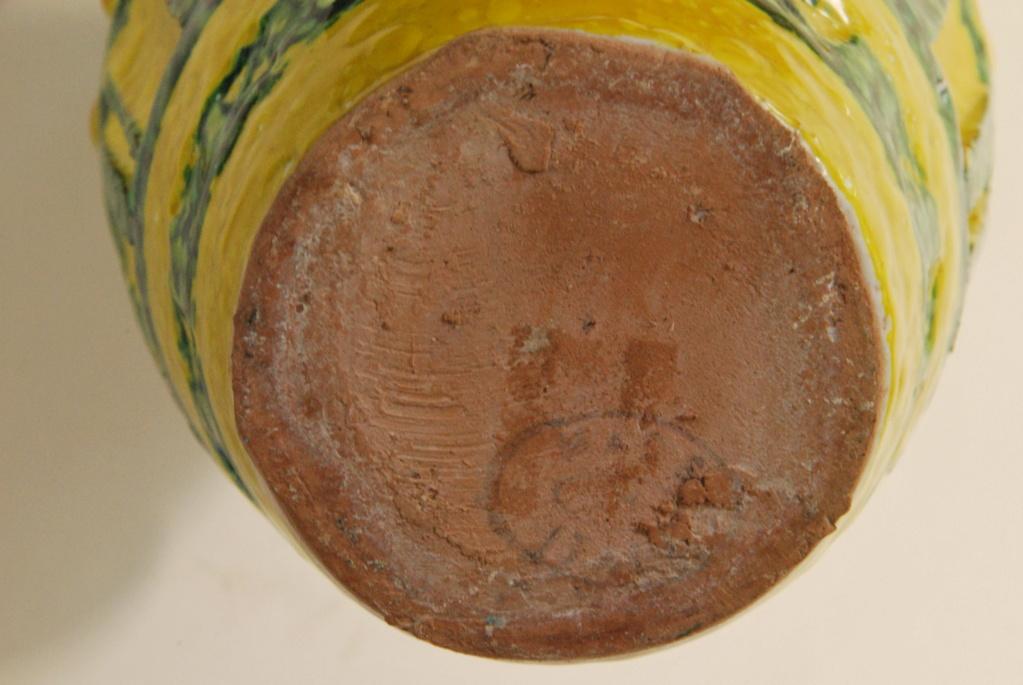 Pottery Mid Century Italian?  pitcher lava? carafe oval mark Buma_p11