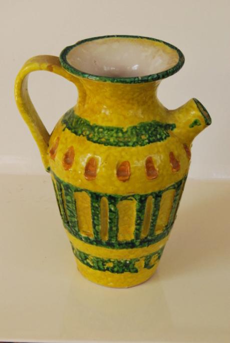 Pottery Mid Century Italian?  pitcher lava? carafe oval mark Buma_p12