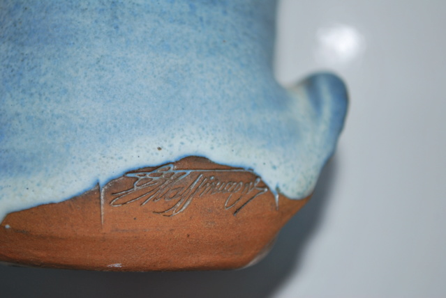 Pottery blue face flowing hair signed (can't read) let's try again with pix Dsc_0318