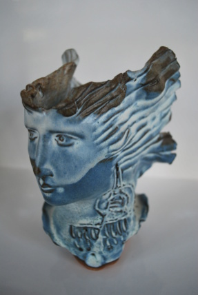 Pottery blue face flowing hair signed (can't read) let's try again with pix Dsc_0319