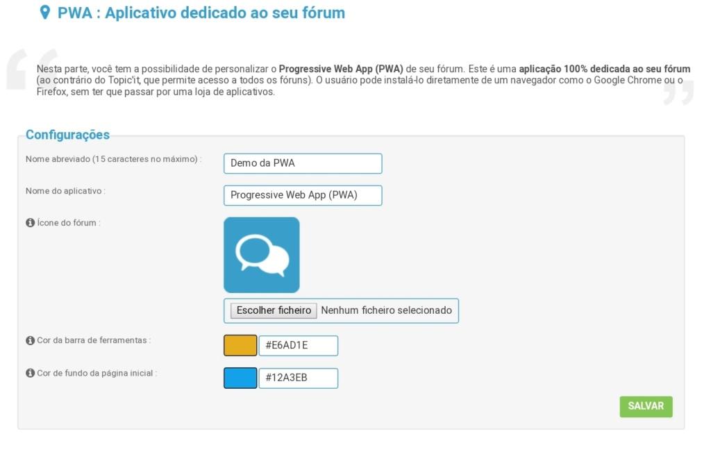 Aplicativos progressivos para web (PWA) disponível em fóruns Forumeiros Smarts10