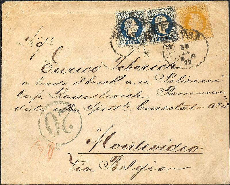 Portogebühren ins Ausland 1867 bis 1900 1877_310