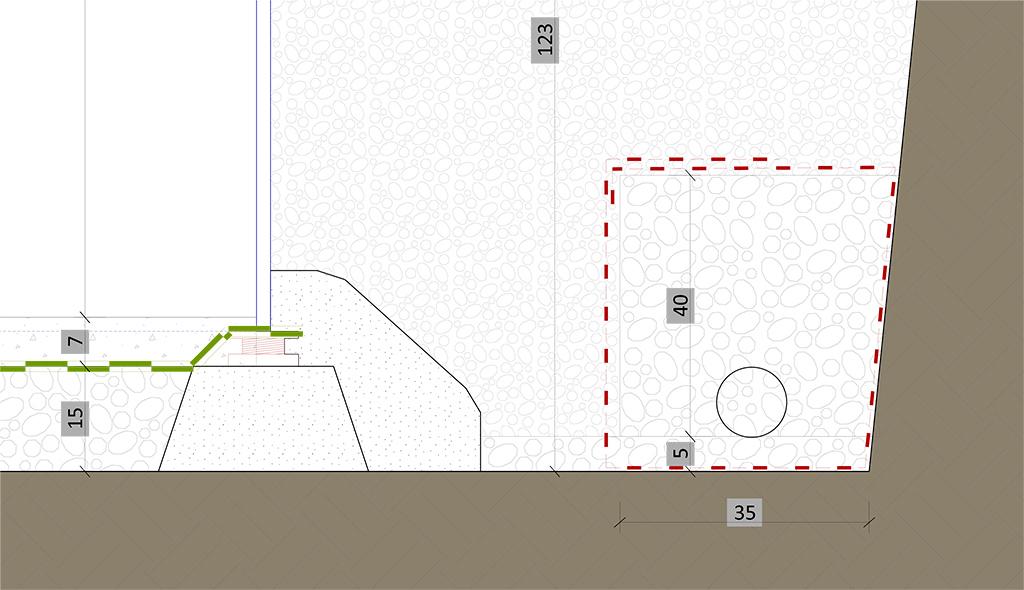 principe du lit de gravier pour terrain argileux avec piscine en pente Coupe-10