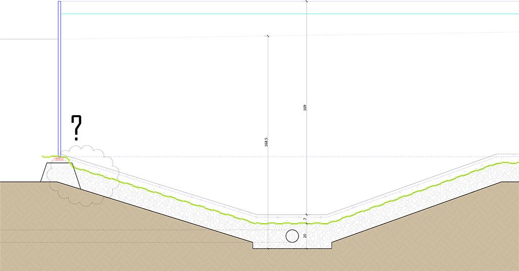 principe du lit de gravier pour terrain argileux avec piscine en pente Coupe-11