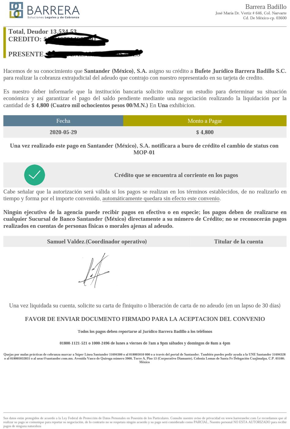 Carta convenio Santander  20200511