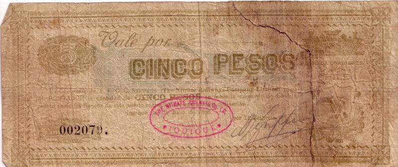 5 pesos de Chile de 1898 Billet10