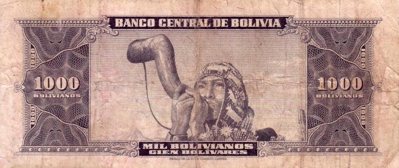 1000 bolivianos de Bolivia Jfdssa10