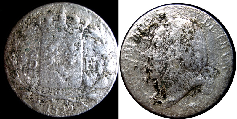 Louis XVIII, 5 francos (1822) Moneda10