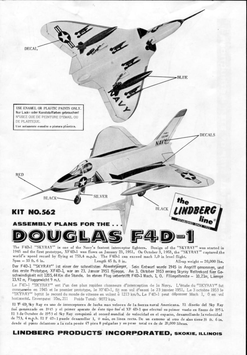 [Lindberg] Douglas F4D-1 Skyray, Kit No. 523:98 et Kit No. 562:98, vers 1955, 1/48 F4d-1_15