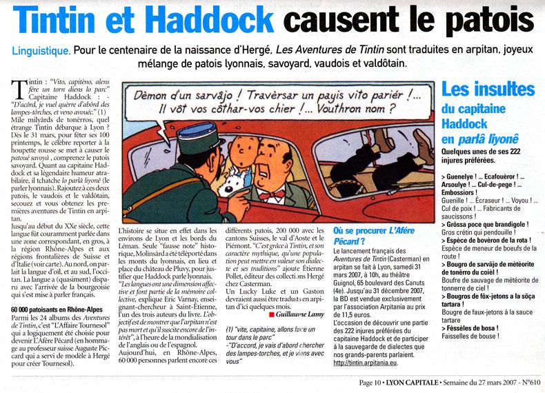 Tintin en arpitan: L'Afére Pecârd Tintin10