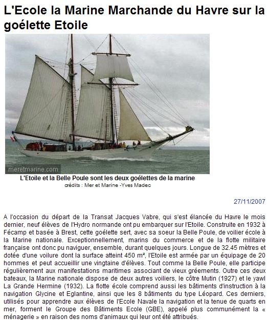 ACTUALITE  : 27/11/07 La goélette Etoile Etoile10