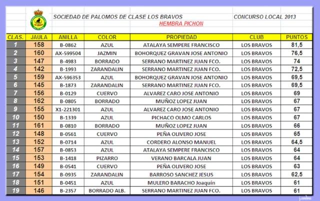 CLASIFICACIONES CONCURSO LOCAL LOS BRAVOS 2013 Hembra10