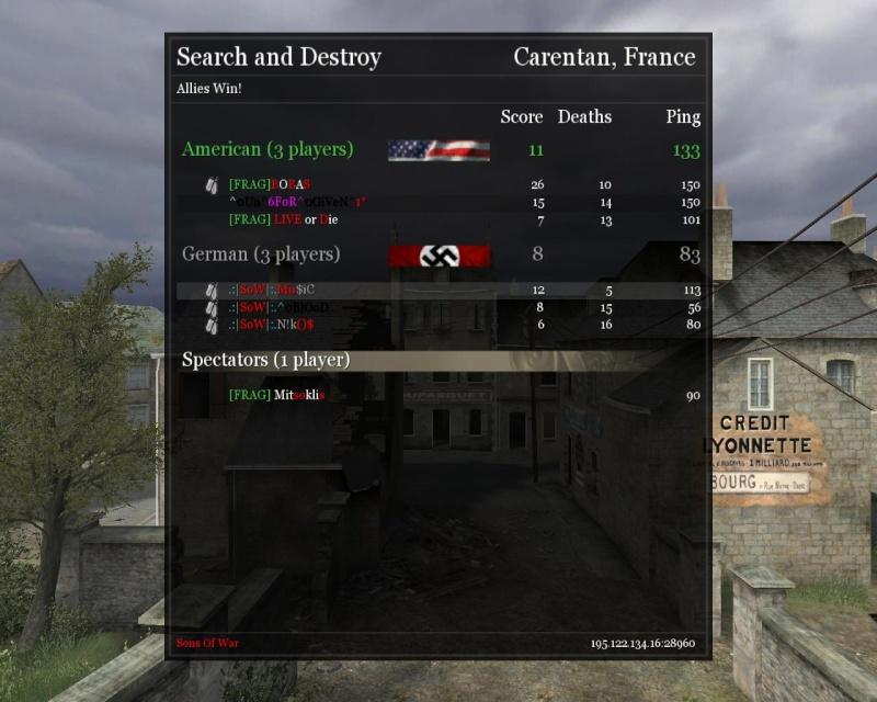 .:|SoW|:. VS [FRAG] (friendly) Carent10