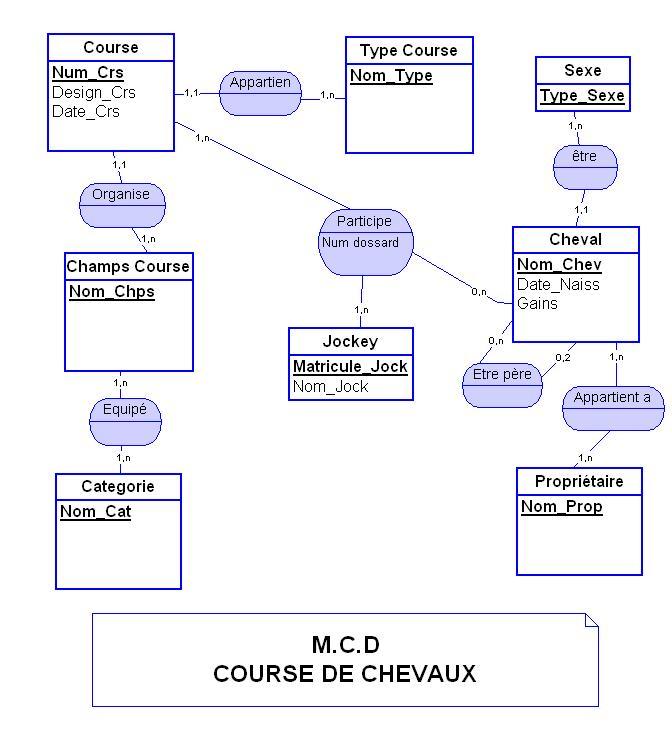 """Corrigé  Merise (BD) """"Course des Chevaux"""""""" Course10"""