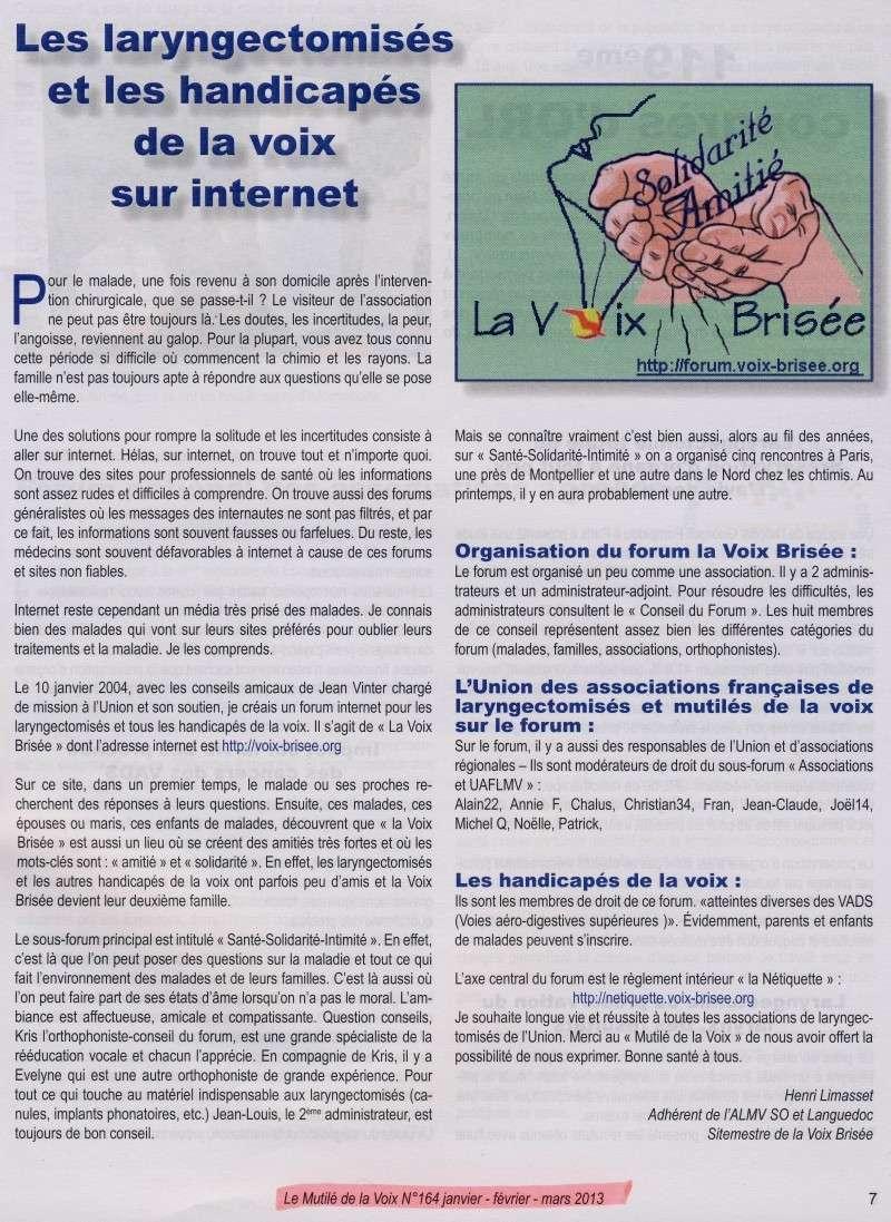 """Les Handicapés de la Voix sur internet - Revue """"le Mutilé de la voix"""" Articl10"""
