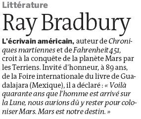 Ray Bradbury dans Le Monde du 22 déc 22-12-10